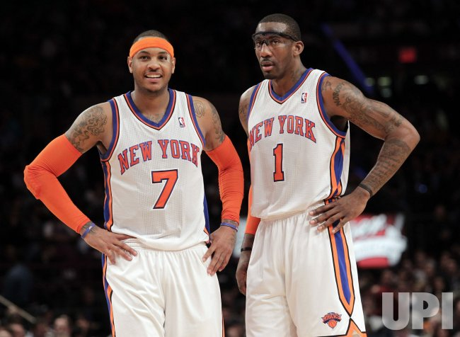 New York Knicks Amar'e Stoudemire and Carmelo Anthony at Madison Square Garden in New York
