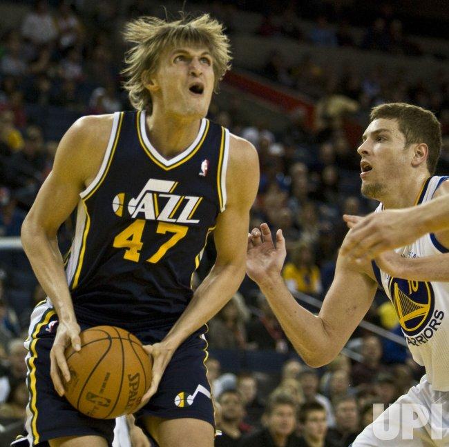 Utah Jazz Andrei Kirilenko looks to the basket against the Golden State Warriors in Oakland, California