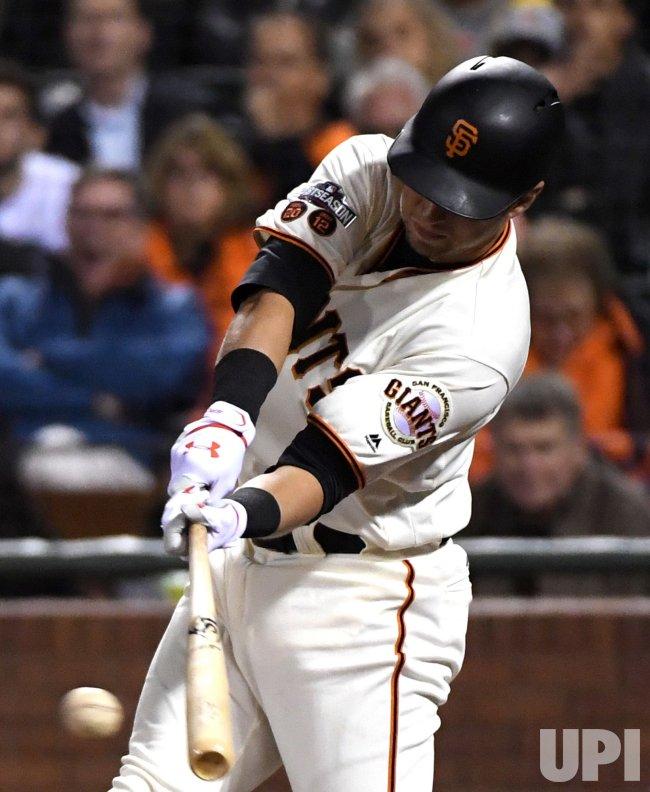 San Francisco Giants Joe Panik hits a single