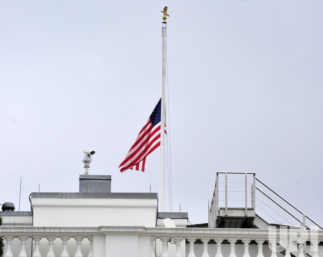 White House flag lowered to half staff in Washington