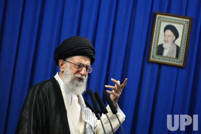 Iran's supreme leader Ayatollah Ali Khamenei leads the Friday prayers in Tehran