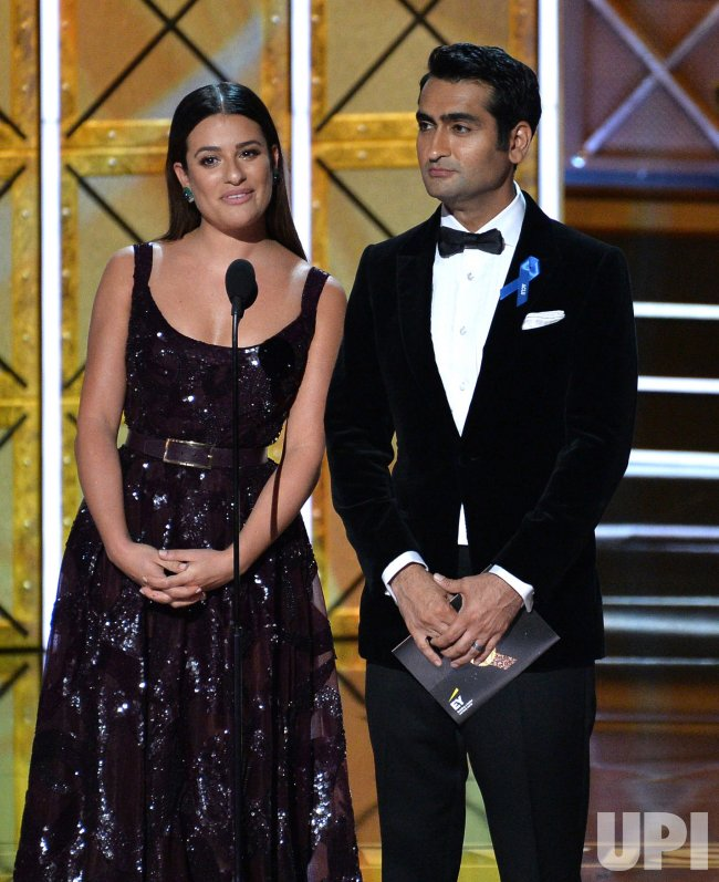 Lea Michele and actor-writer Kumail Nanjiani onstage at the 69th annual Primetime Emmy Awards in Los Angeles