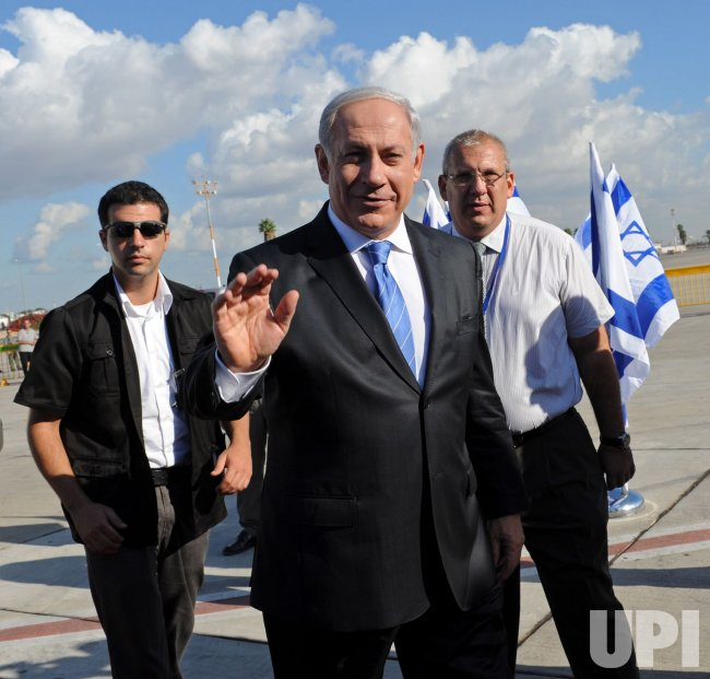 Israeli Prime Minister Benjamin Netanyahu arrives at Ben Gurion Airport to fly to Sharm el-Sheikh for peace talks