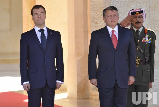 Russian President Medvedev visits the Jordan River