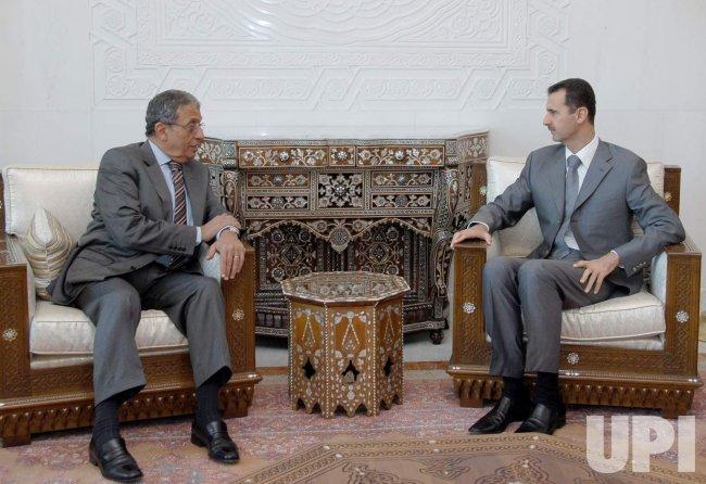 AMR MOUSA AND BASHAR AL-ASSAD MEET IN DAMASCUS