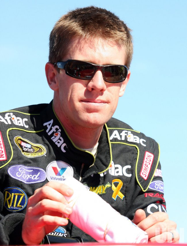Carl Edwards awaits NASCAR race start at Loudon, New Hampshire