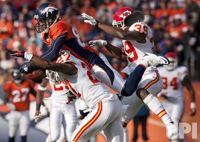Broncos Lloyd Catches 37-Yard Pass Against the Chiefs at Invesco Field at Mile High in Denver