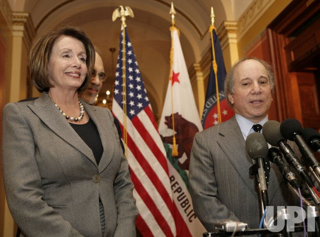 House Speaker Pelosi meets with singer Paul Simon on Capitol Hill.