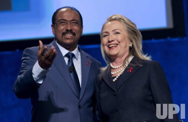 U.S. Secretary of State Hillary Clinton delivers remarks during the XIX International AIDS Conference in Washington