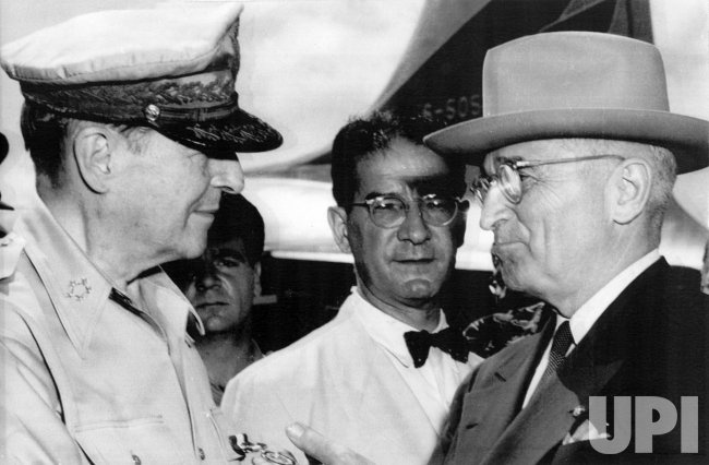 Gen. Douglas MacArthur meets with President Harry Truman on Wake Island during the beginning of the Korean War