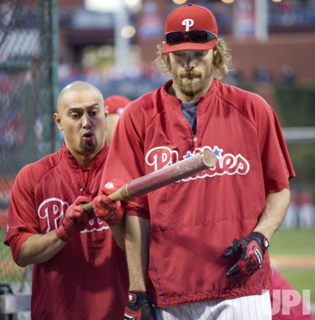 Philadelphia Phillies Shane Victorino and Jason Werth at batting practice