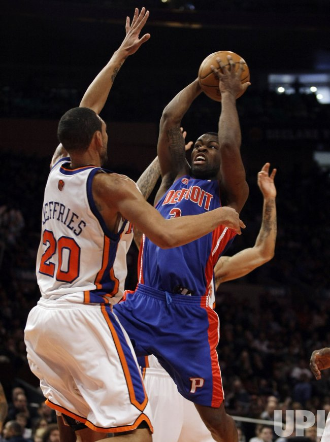New York Knicks Jared Jeffries plays defense on Detroit Pistons Rodney Stuckey at Madison Square Garden in New York