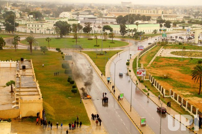 Libyans demonstrate for removal of Gaddafi in Benghazi, Libya