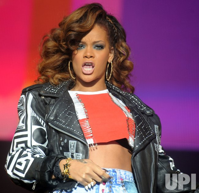 Rihanna performs at V Festival