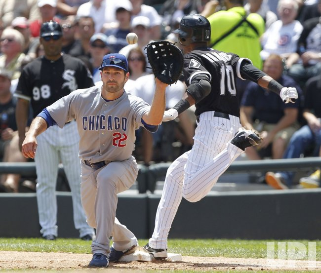 White Sox Ramirez safe on infield single against Cubs in Chicago