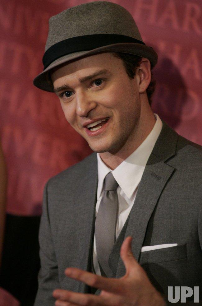 Justin Timberlake speaks at Harvard Hasty Pudding Man of the Year award.