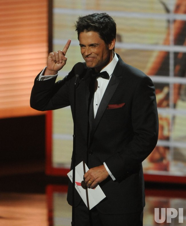 Rob Lowe speaks at the 61st Primetime Emmy Awards in Los Angeles