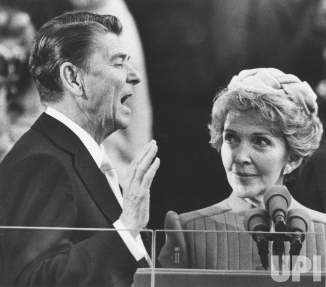 Nancy Reagan Watching Husband Ronald Reagan Sworn In