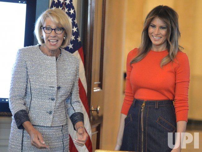 Melania Trump And Betsy Devos Host Local Middle School Children At