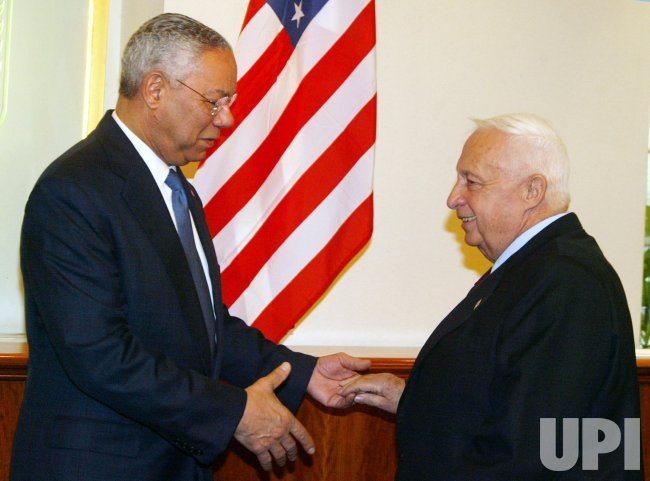 ARIEL SHARON AND COLIN POWELL IN JERUSALEM