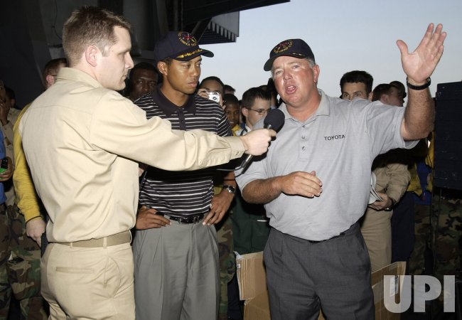 TIGER WOODS VISITS USS GEORGE WASHINGTON
