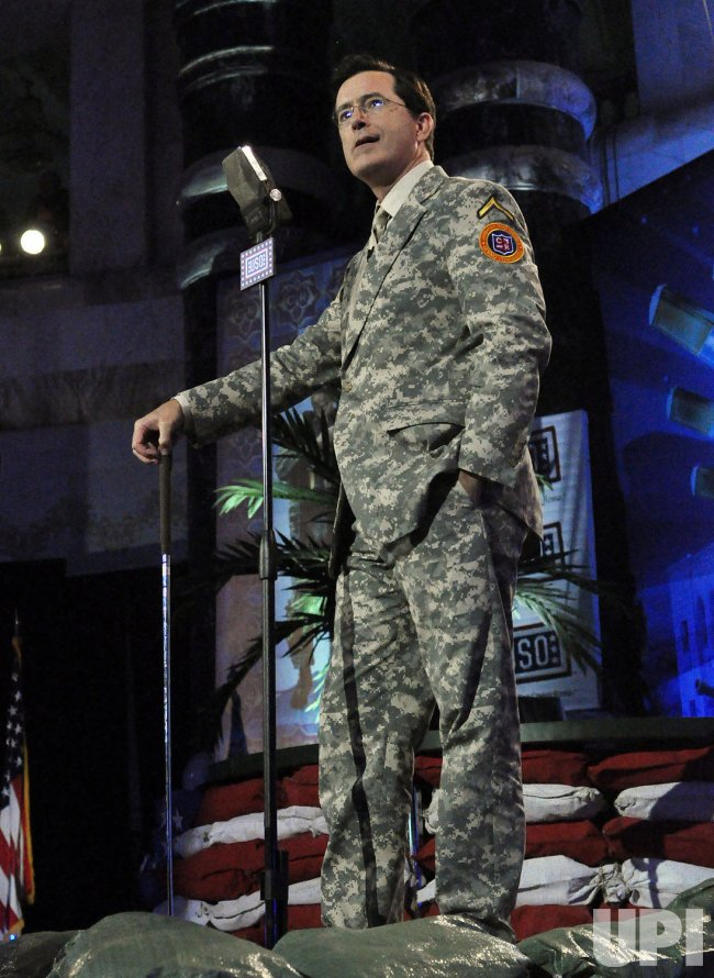 Comedian Stephen Colbert performs on USO tour in Baghdad