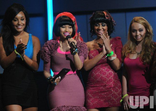 Nicki Minaj walks on stage at the BET Awards in Los Angeles