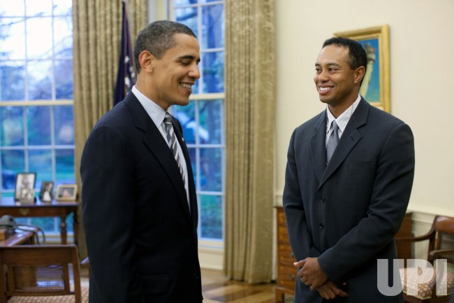 U.S. President Obama meets with Tiger Woods in Washington.