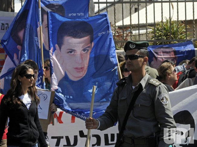 Israelis demonstration for the release of captured soldier Gilad Shalit in Jerusalem