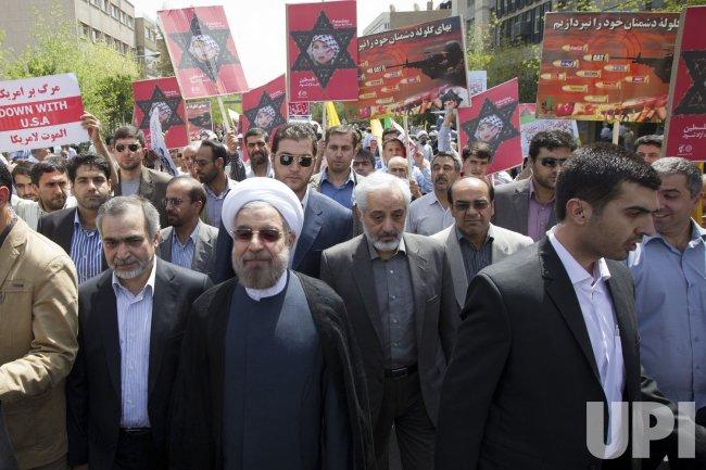 Iran's New President Hassan Rouhani attends Jerusalem Day (al-Quds Day ) rally in Tehran, Iran