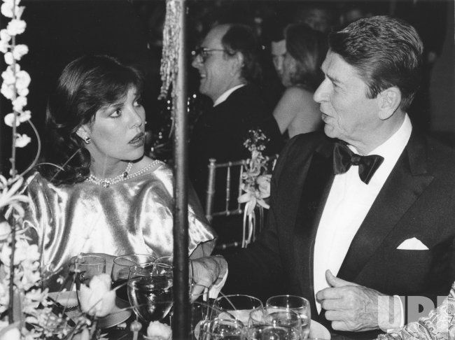 President Ronald Reagan and Princess Caroline of Monaco at a gala dinner