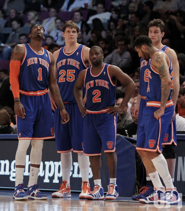 New York Knicks Amar'e Stoudemire, Timofey Mozgov, Raymond Felton, Danilo Gallinari and Wilson Chandler at Madison Square Garden in New York