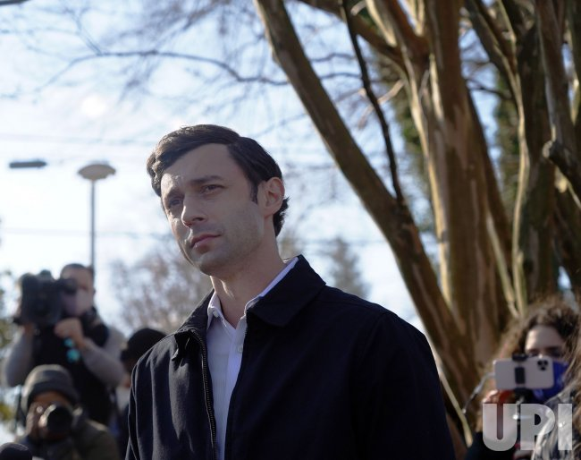 Ossoff Makes a Statement at Polling Location in Georgia