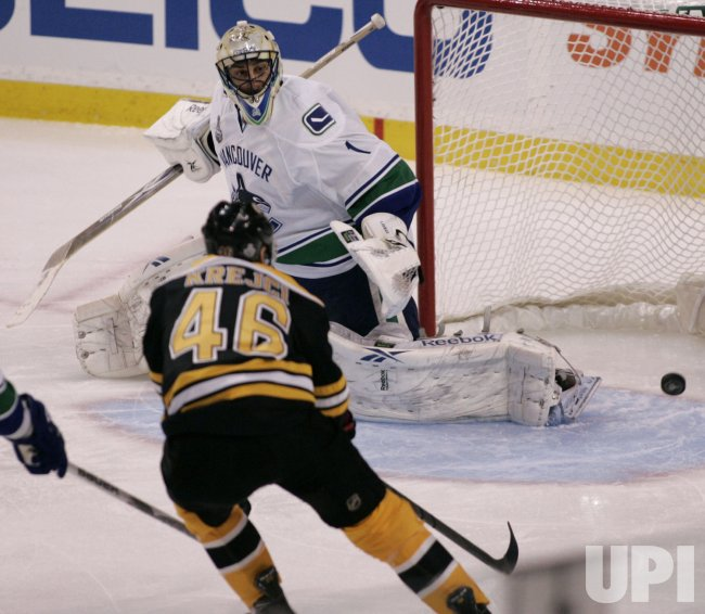 Bruins Krejci shoots at Canucks Luongo in game 6 of the NHL Stanley Cup Finals in Boston, MA.