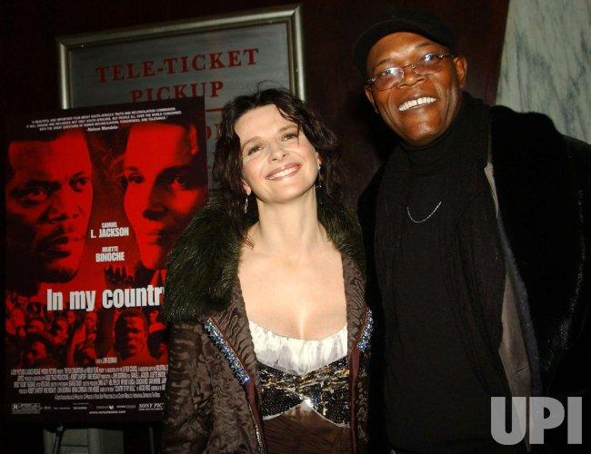"""SAMUEL JACKSON-JULIETTE BINOCHE FILM PREMIERE """"IN MY COUNTRY"""""""