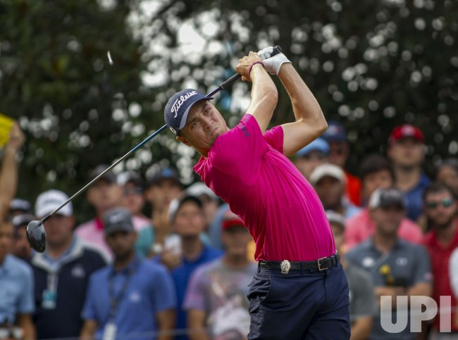 Justin Thomas tees off in the 2017 PGA Championship