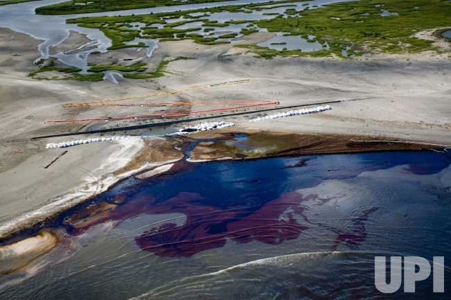 Aerial images show clean up efforts of BP's Deepwater Horizon oil spill in Louisiana