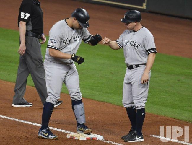 Yankees Sanchez celebrates RBI single in ALCS in Houston