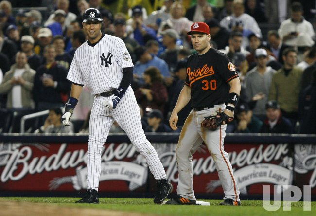 New York Yankees Derek Jeter becomes the all time Yankees hit leader passing Lou Gehrig against the Baltimore Orioles at Yankee Stadium in New York