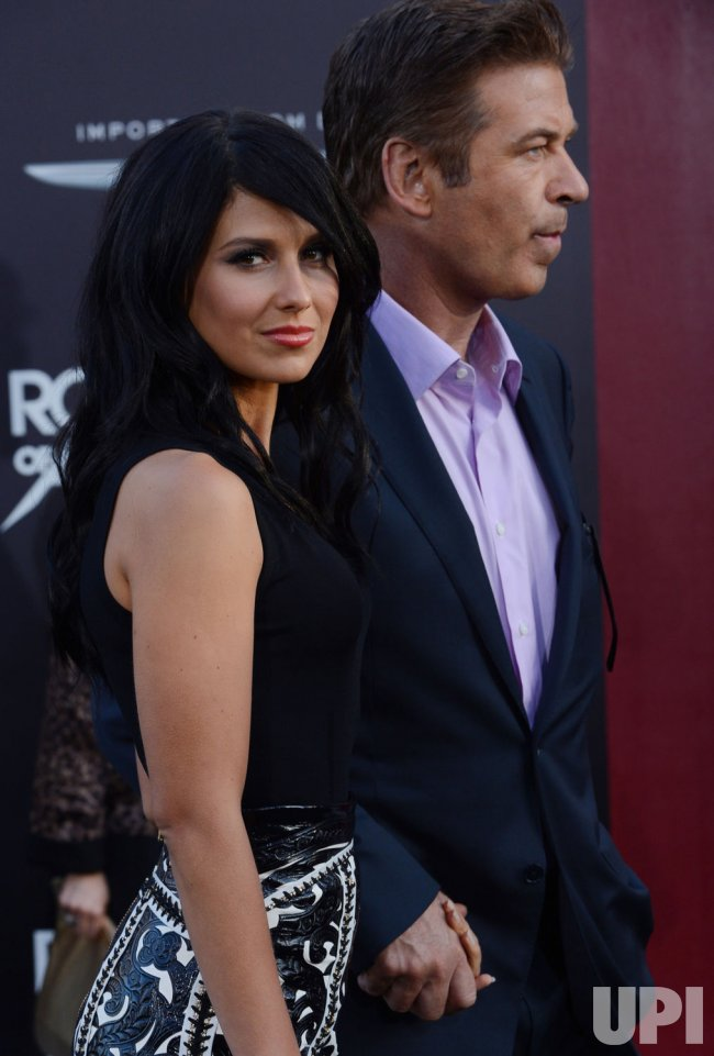 "Alec Baldwin and Hilaria Thomas attend the ""Rock of Ages"" premiere in Los Angeles"