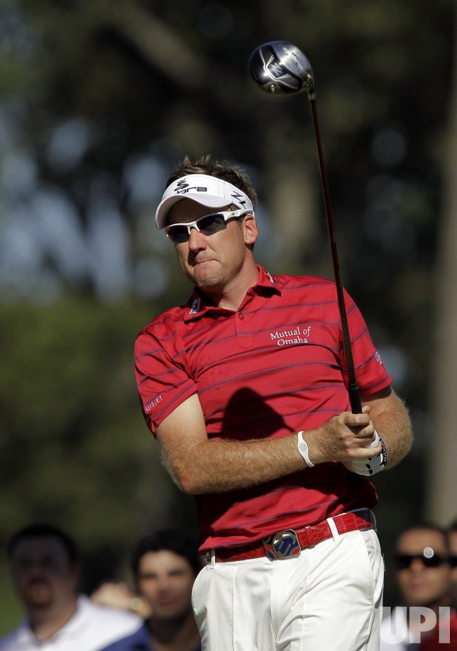 Ian Poulter hits a tee shot at Ridgewood Country Club in New Jersey