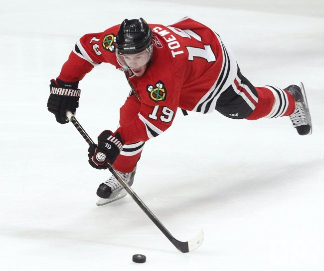Blackhawks Toews passes the puck during the 2010 Stanley Cup Final