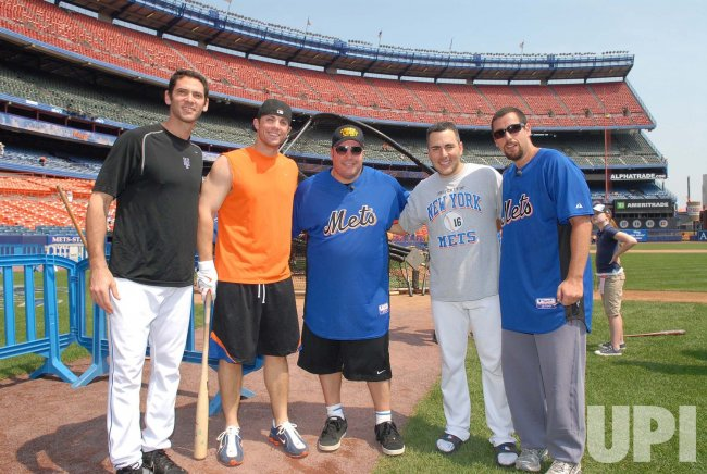 ADAM SANDLER AND KEVIN JAMES VISIT SHEA STADIUM IN NEW YORK