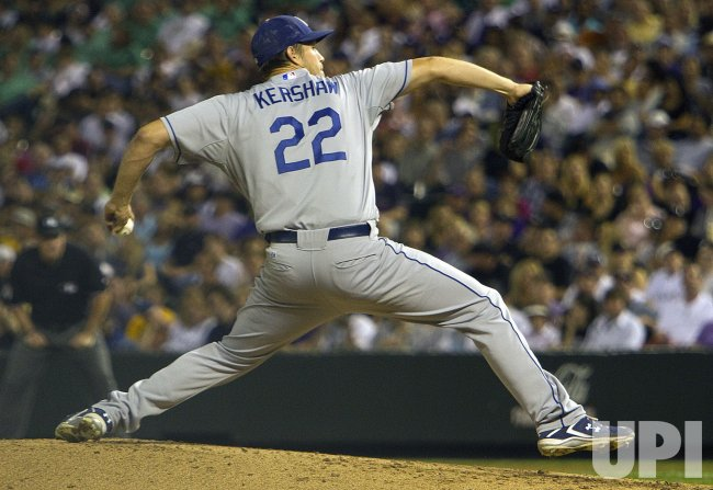 Dodgers Pitcher Kershaw Throws Against the Rockies in Denver