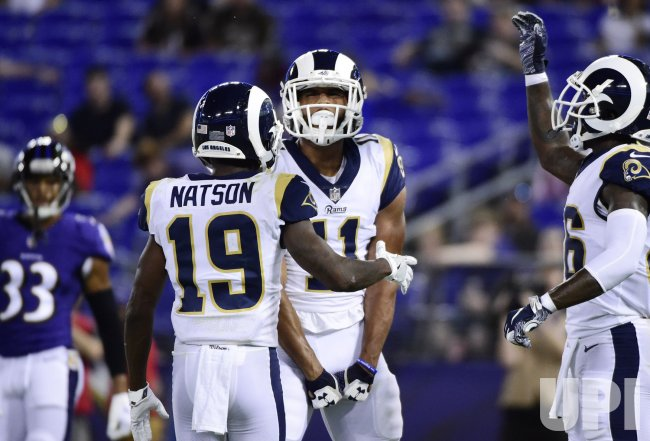 buy popular 78faa 1d253 Rams' Khadarel Hodge celebrates TD during NFL preseason game ...