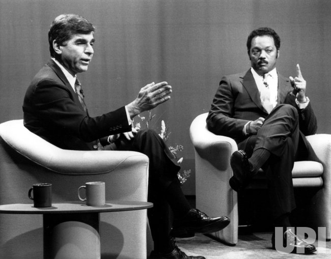 Michael Dukakis and Jesse Jackson during one of their televised debates.