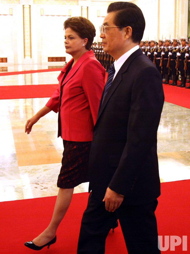 Brazil's President Rousseff attends welcoming ceremony in Beijing