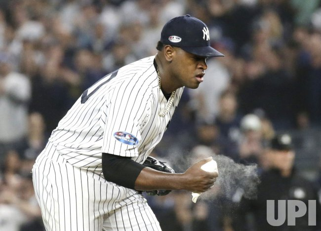 Yankees Starting Pitcher Louis Severino Grabs The Rosin Bag