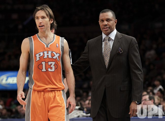 Phoenix Suns Steve Nash stands next to head coach Alvin Gentry at Madison Square Garden in New York