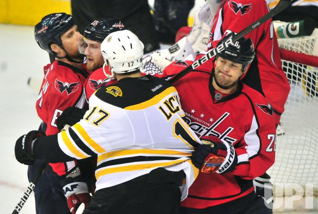 Capitals Matt Hendricks pulls at Boston Bruins' Milan Lucic in Washington